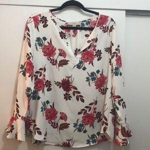 LOFT Long Sleeve Floral Blouse (size LP)